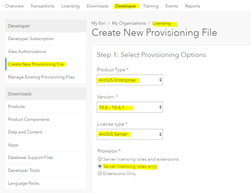 How to generate and download ECP for ESRI (ArcGIS 10 5